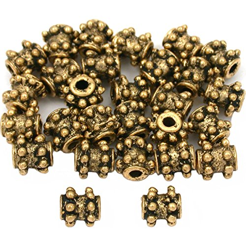 15g Dot Bali Tube Beads Antq Gold Plated 6mm Approx 25 ()