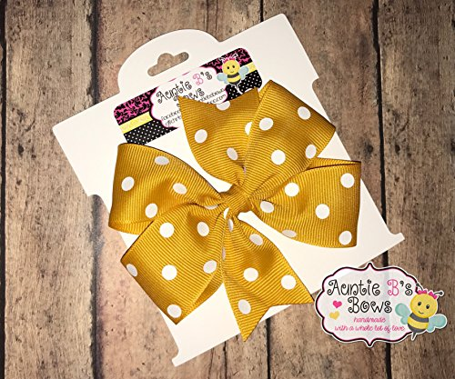 Gold and White Polka Dots Pinwheel Hair Bow 4