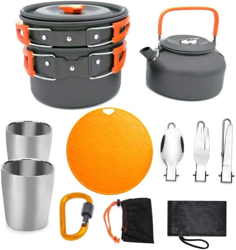 YSCYLY Utensilios Cocina Camping Kit,Juego de ollas Tetera 2 ...