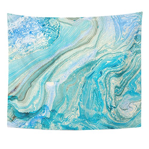 Emvency Tapestry Watercolor Blue Marbling Creative Abstract Oil Waves Liquid Paint Home Decor Wall Hanging for Living Room Bedroom Dorm 50x60 inches