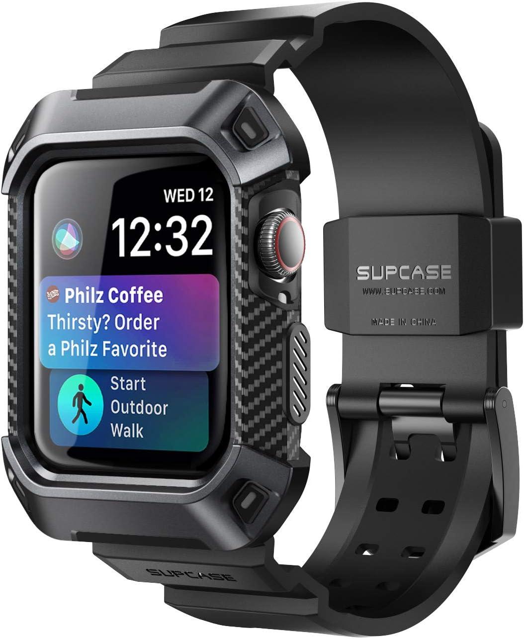 SupCase Funda para iWatch 44 mm Series 5/4 [UB Pro] Bandas de Correa Compatible con Apple Watch 44mm Series 5 / Series 4 (Negro)