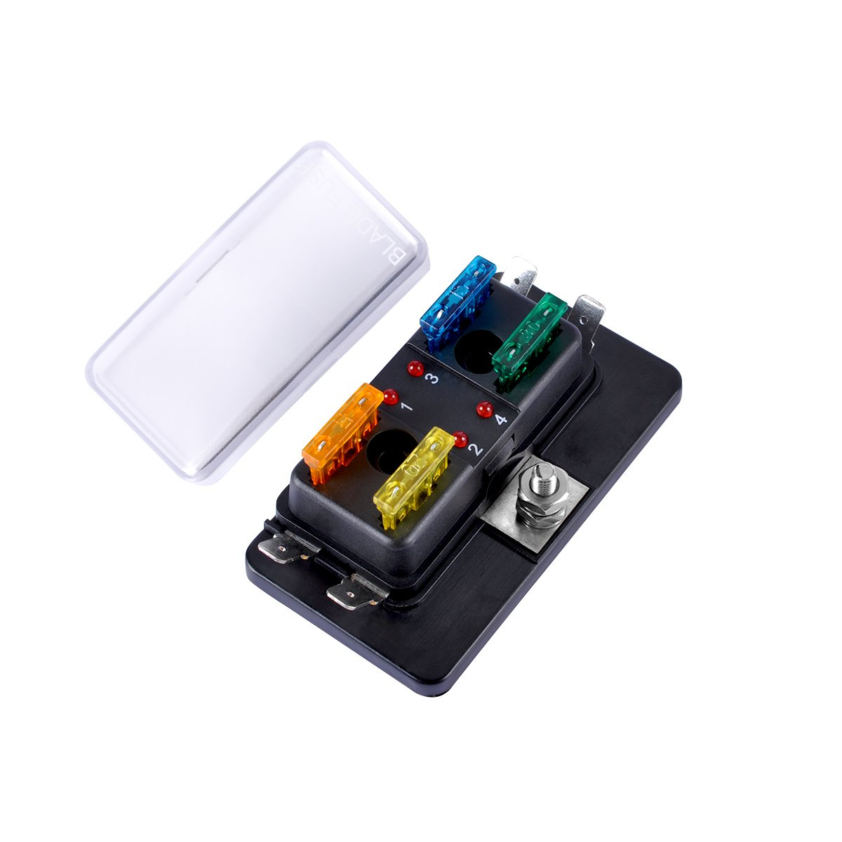 4-Way Blade Fuse Block, AutoEC Marine Fuse Box Holder for Car Boat Marine Trike with Led Safety Indicator for Blown Fuse by AutoEC (Image #8)