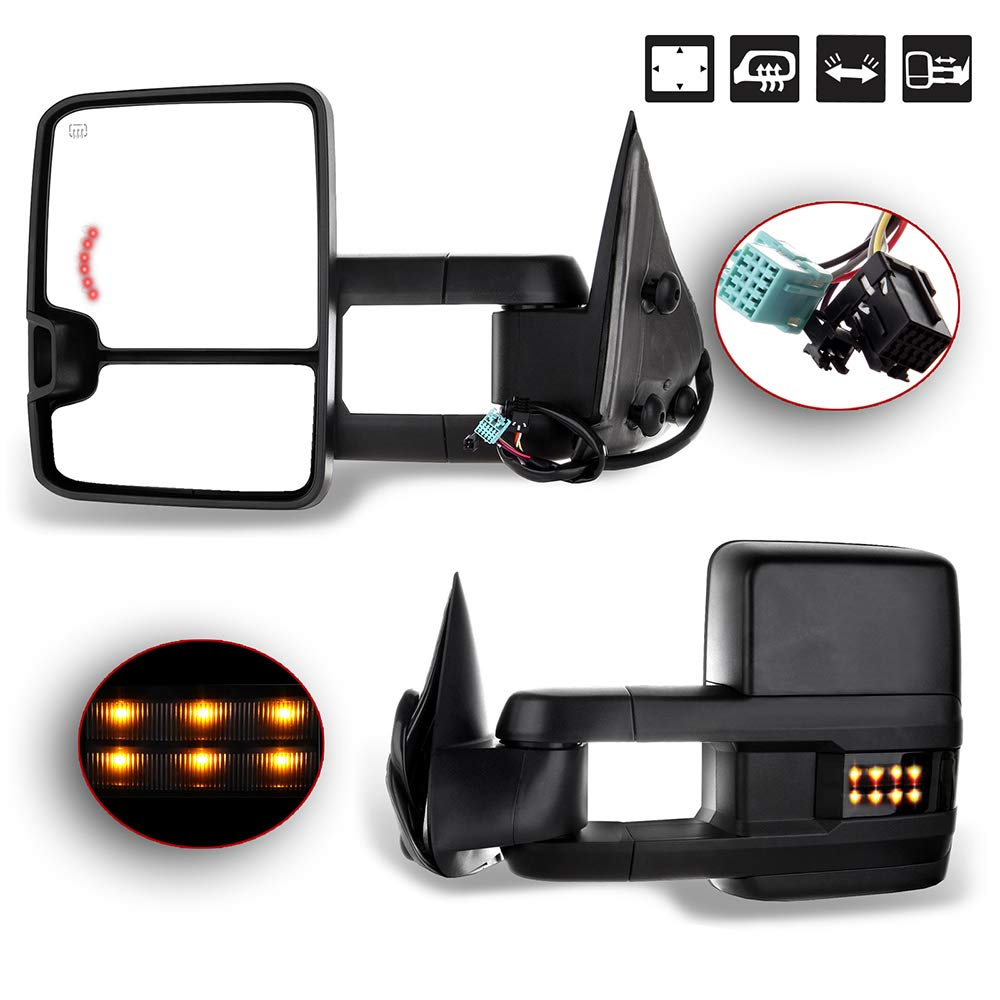 FEIPARTS Tow Mirror Fit for 2003-2006 Chevy GMC Sierra Pickup Yukon Yukon XL Yukon Denali Cadillac Escalade All Model Rearview Mirrors with Power Heated Turn Signal Light Light by FEIPARTS