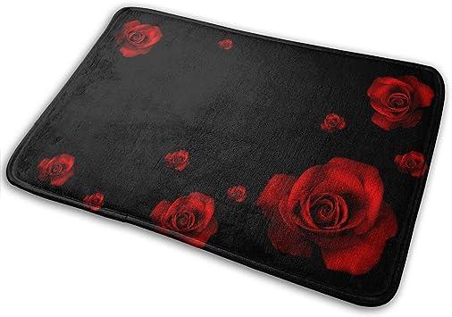 Denetri Dyerhoward Bath Mat Beautiful Red Flowers Black Rose Nature Roses Wallpaper 3d Hd Non Slip Bath Rug Washable Bathroom Soft Kitchen Floor Door