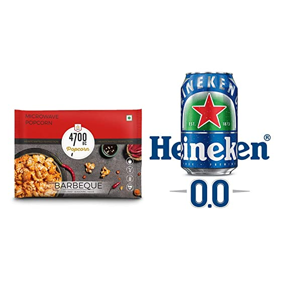 4700BC Microwave Popcorn, BBQ, Bag, 92g, with Free Heineken 0.0 CAN, 330 ml