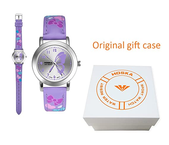 hoska Kids Relojes reloj de cuarzo Gilrs cupones para los niños del estudiante - resistente al agua en forma de mariposa: Amazon.es: Relojes