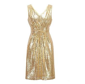 FXFAN Champagne Gold Flash Lady Lentejuelas Corto Vestido De Noche De Baile De Graduación Vestidos De