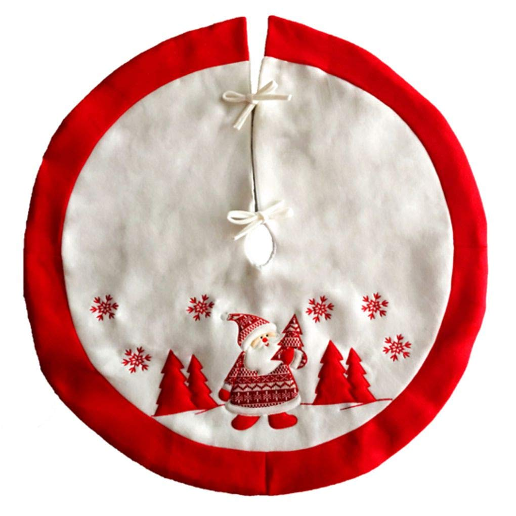 Providethebest 90 Centimetri di Babbo Natale Ricamo Christmas Tree Skirt Flanella Xmas Tree Decoration Provide The Best