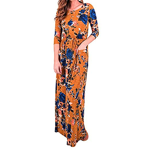 273d3962b86b Women Dresses Print Three Quarter Sleeve High Waist Boho Maxi Dresses with  Pocket O-Neck Casual Dress at Amazon Women's Clothing store: