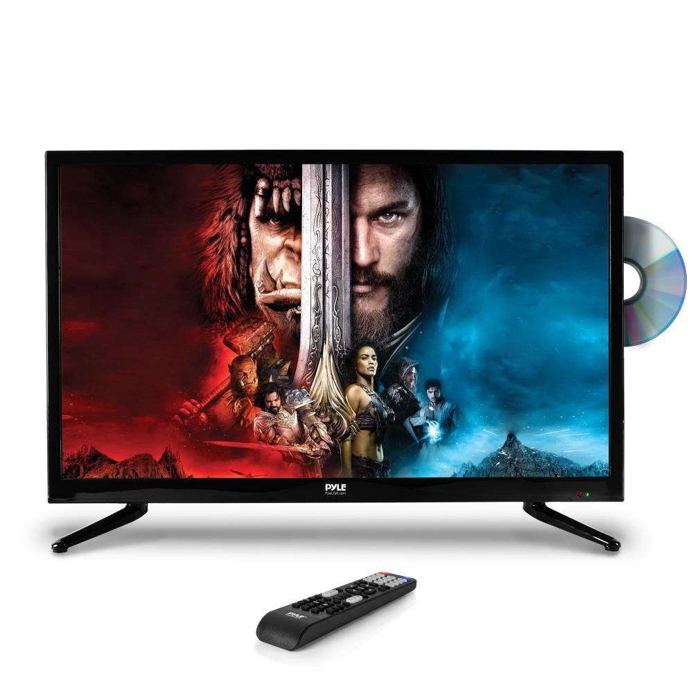 Pyle 32'' 1080p LED TV, Multimedia Disc Player, Ultra HD TV, LED Hi Res Widescreen Monitor w/ HDMI Cable RCA Input, LED TV Monitor, Audio Streaming, Mac PC, Stereo Speakers, Wall Mount (PTVDLED32)