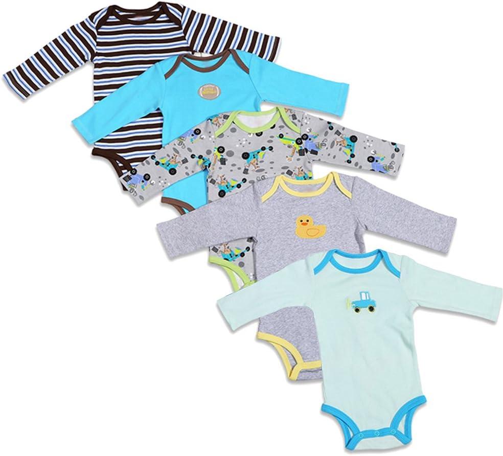 BOZEVON pack con 5 unidades Recién nacido Bebé Largo/corto Mangas Romper escalada manga algodón Niños Niñas Mono Body para Bebé