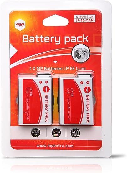 2 x Batería MP EXTRA ® LP-E8 LPE8 para cámaras Digitales Canon EOS 550D, EOS 600D, EOS 650D, EOS 700D, EOS Rebel T2i, EOS Rebel T3i: Amazon.es: Electrónica