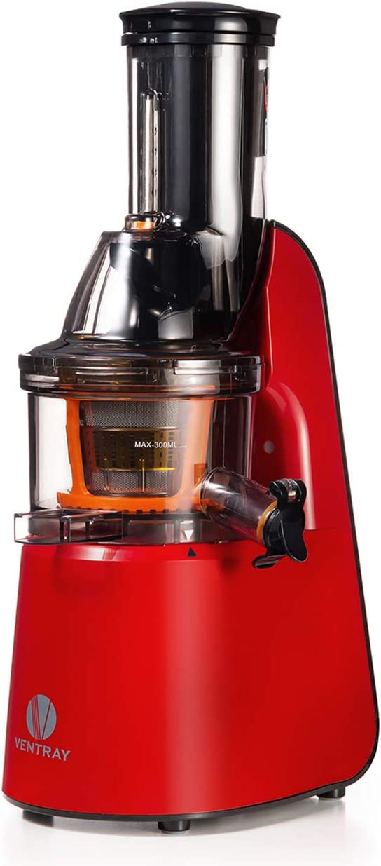 Ventray Masticating Juicer Machines- Slow Juicer Extractor with Wide Chute Big Feeding Mouth, Easy to Clean- Cold Press Juice Maker – Red