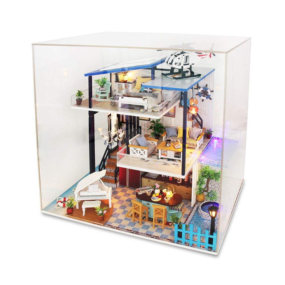 online barato Keliour-Juguetes Casa de muñecas de Bricolaje Mini Kit Kit Kit Hecho a Mano DIY House Bon Author Cover Villa Grande Juguetes de Madera Mano Modelo Casa de muñecas de Madera con Muebles y Accesorios, Juguetes  tienda