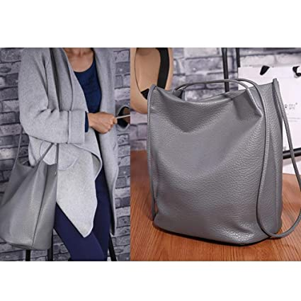 439013ac22 Bucket Bag Shoulder Tote Bucket Bag Solid Color Soft PU Leather Large  Capacity Casual Shoulder Tote Bucket Bag Simple in Design Ladies Cross-Body  Bag  ...
