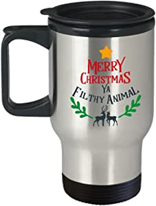 Merry Christmas ya Filthy Animal - Funny Christmas Gifts - Porcelain White Travel Coffee Mug Cute Cool Ceramic Cup Travel Mugs, Best Office Travel Tea
