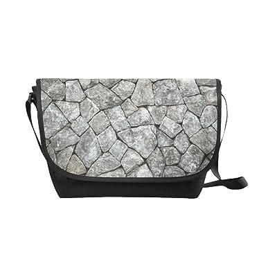 Crossbody Bag Stone wall texture Black Nylon Daypacks Casual Messenger Shoulder Bag