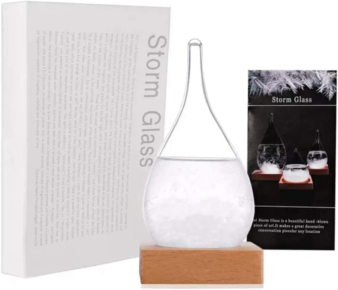 Storm Glass Weather Forecast Weather Station, Creative Fashion Weather Forecaster, Storm Glass Bottle Barometer on Wooden Base, Home and Office Decor