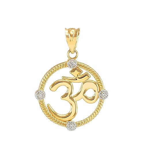 Amazon.com: 14k Yellow Gold Diamond Roped Medallion Yoga Om ...