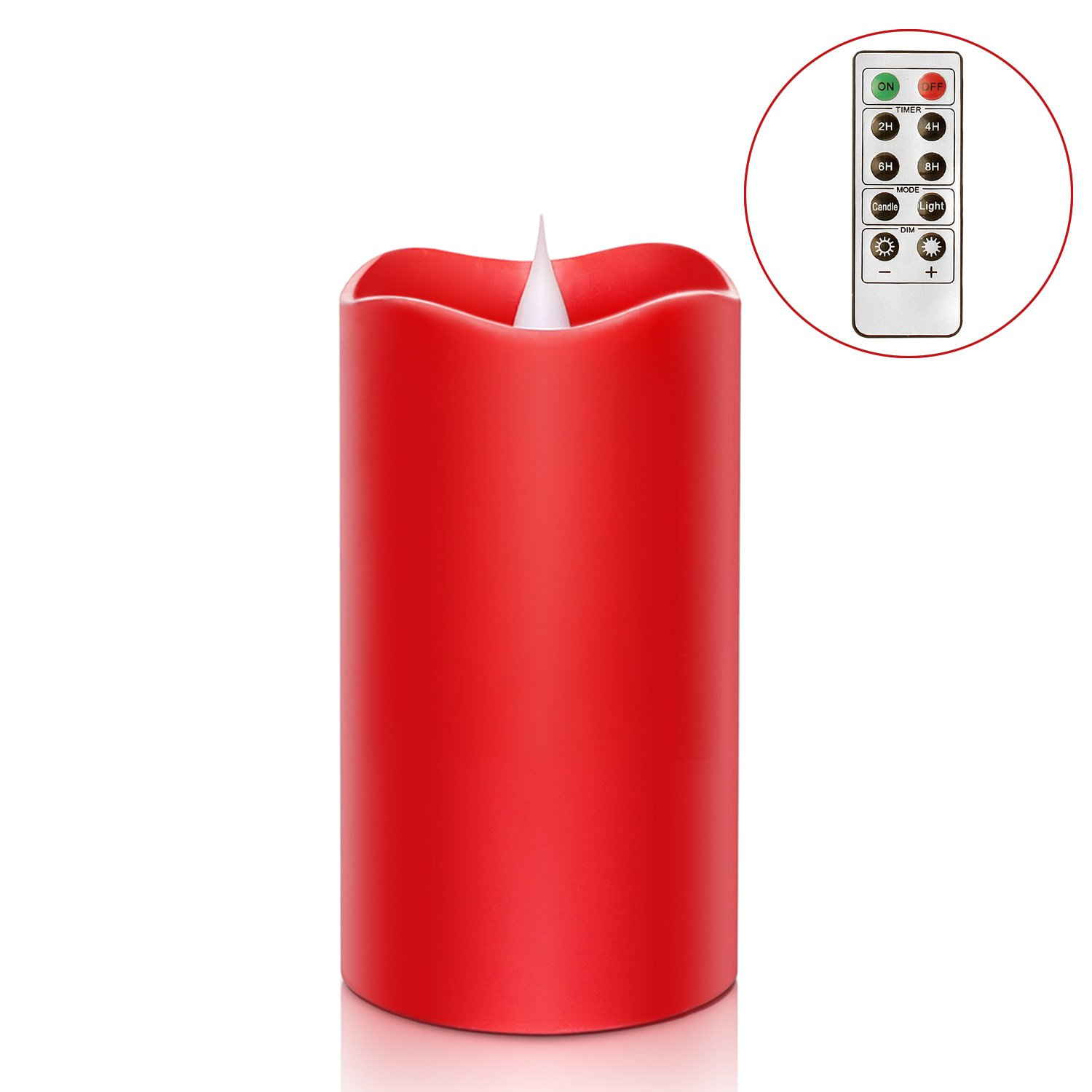 3D Moving Flame Led Candle with Timer Battery Operated Candle with Remote Control for Christmas Decoration 3x5 Inch Red