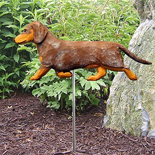 Dachshund Outdoor Garden Dog Sign Hand Painted Figure Red Smooth