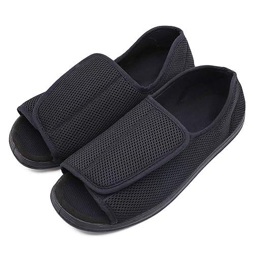 24b64ff62acc6 Men's Open Toe Diabetic Recovery Slippers, Adjustable Orthopedic Wide Width  Walking Shoes for Arthritis Edema Swollen Feet Elderly Men