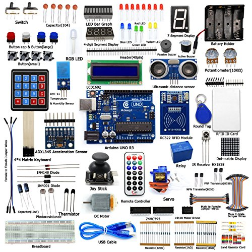 Adeept RFID Starter Kit for Arduino UNO R3 from Knowing to Utilizing, Servo, RC522 RFID Module, PS2 Joystick, Beginner Starter Learning Kit with Guidebook(PDF) and C Code ()