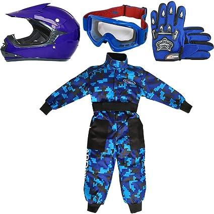 Leopard LEO-X15 Azul Casco de Motocross para Niños + Gafas + Guantes + Camo Traje de Motocross para Niños, Traje L (9-10 Años), Azul - Casco&Guantes L