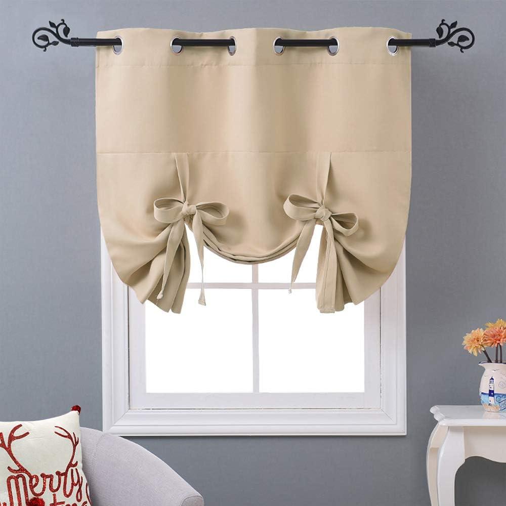 NICETOWN Roman Shade Valances for Windows - Tie Up Balloon Kitchen/Bathroom/Farmhouse Window Curtain Shade (Biscotti Beige, Grommet Top Panel, W46 x L63)