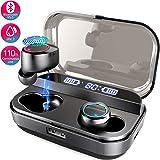 Bluetooth Earbuds Wireless 5.0 Bluetooth Headphone TWS Stereo Binaural Calls 110-Hour Playtime IPX7 Waterproof Wireless Sport Earphones with 4000mAh Charging Case(Black)