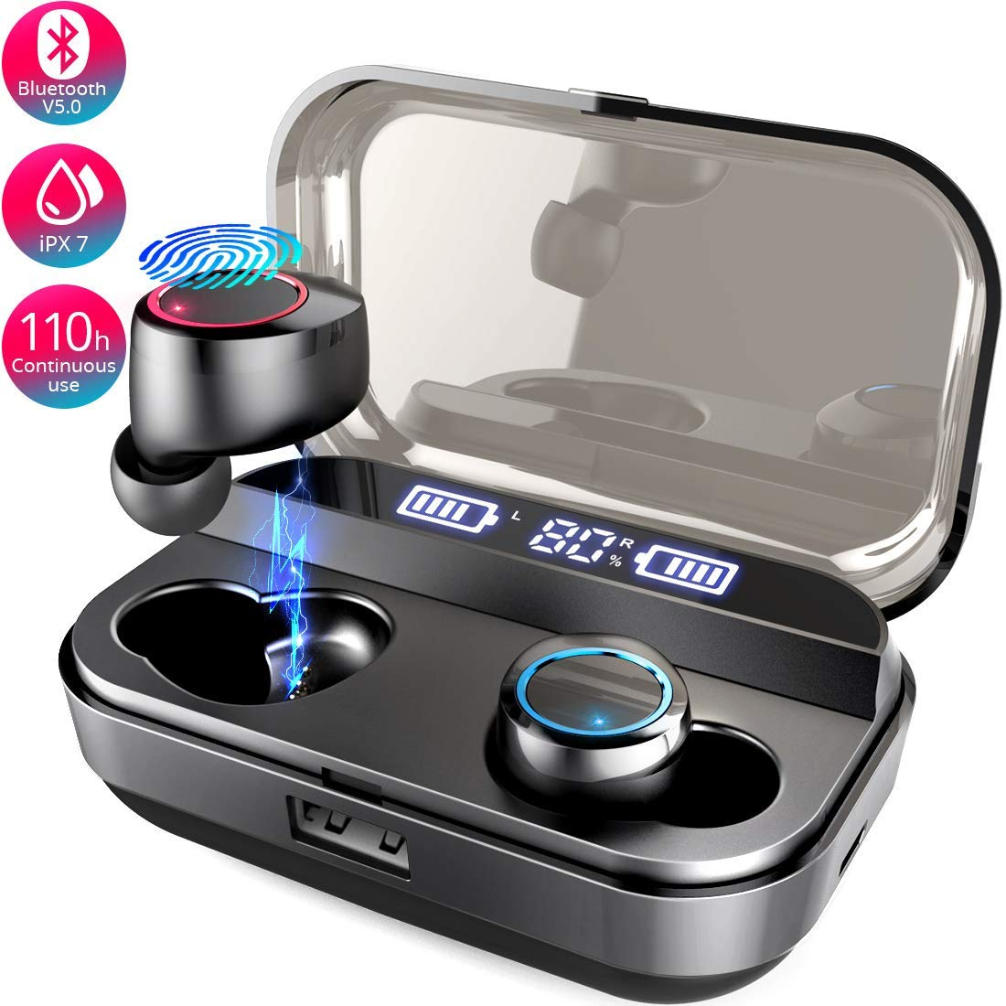 Bluetooth Earbuds True Wireless 5.0 Bluetooth Headphone TWS Stereo Binaural Calls 110-Hour Playtime IPX7 Waterproof Wireless Sport Earphones with 4000mAh Charging Case Black