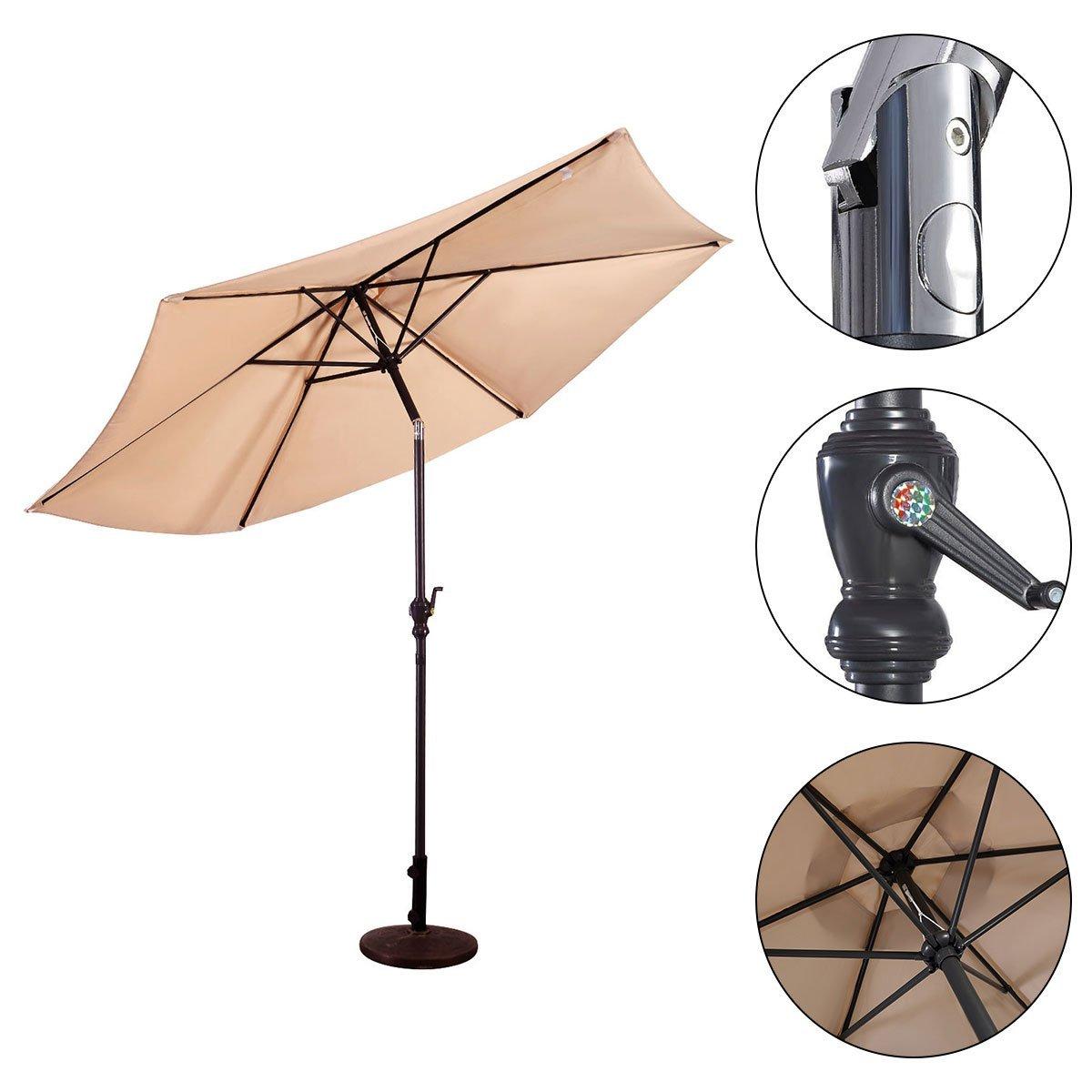Costway 3M Garden Steel Parasol Metal Crank Patio Outdoor Sunshade Umbrella (3M, Beige)