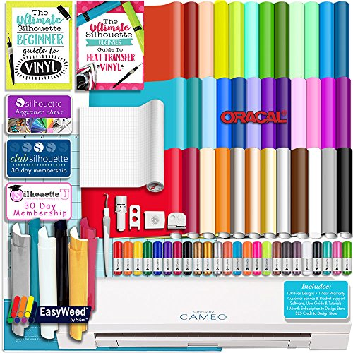Silhouette WHITE CAMEO 3 Bluetooth Delux Starter Bundle with 36 12x12 Oracal Sheets, Siser Easyweed T-Shirt Vinyl, Membership, Transfer Paper, Guide, Class, 24 Sketch Pens, and More by Silhouette America