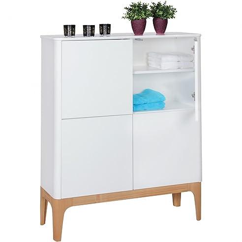 WOHNLING Highboard SCANIO MDF Holz   Schrank Mit 4 Türen Kommode 110x140x40  Cm   Dielenmöbel Design