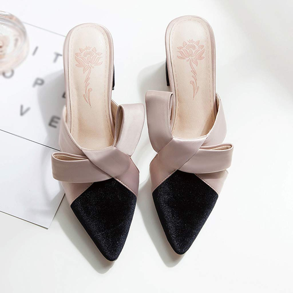 2019 New Womens Sandals with Arch Support Fashion Flat-Bottomed Pointed Retro Bow Lazy Shoes Half Slippers Sandals TRONET TR-VNLX-001