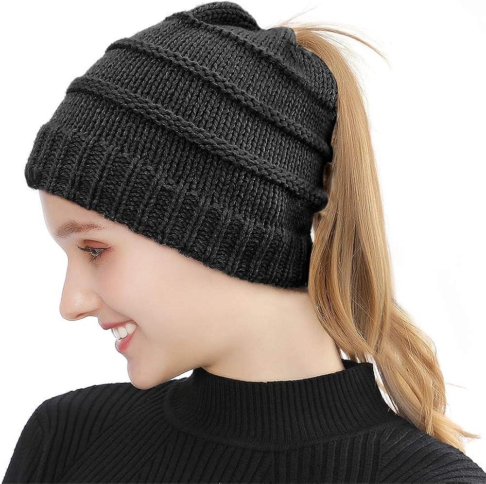 Tusscle Gorro de Punto Mujer Ponytail Beanie Hat Sombrero Invierno- Elasticidad Suave Mantener esquí Coleta Hat (Negro, Talla única)