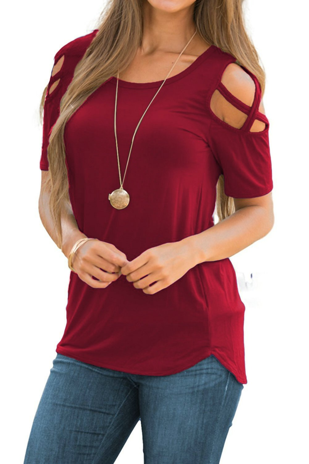 Doris Women's Casual Tunic Top Criss Cross Cold Shoulder Short Sleeve Strappy T-Shirt Tops Wine Red L