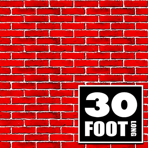 Red Brick Wall Party Backdrop | 4 Foot x 30 Foot | Party Supplies Decoration | Background for Holiday Decoration (4' x 30') -