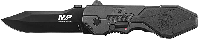 Smith & Wesson SWMP4L 8.6in High Carbon S.S. Assisted Folding Knife with 3.6in Clip Point Blade and Aluminum Handle for Outdoor, Tactical, Survival and EDC