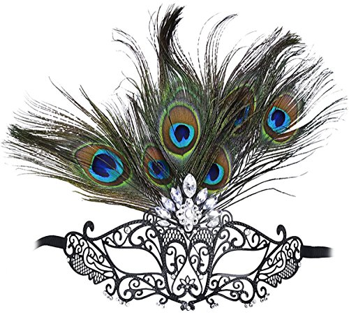 [Masquerade Mask Princess Metal Rhinestone Peacock Feathers Party Mask] (Adult Womens Mardi Gras Queen Costumes)