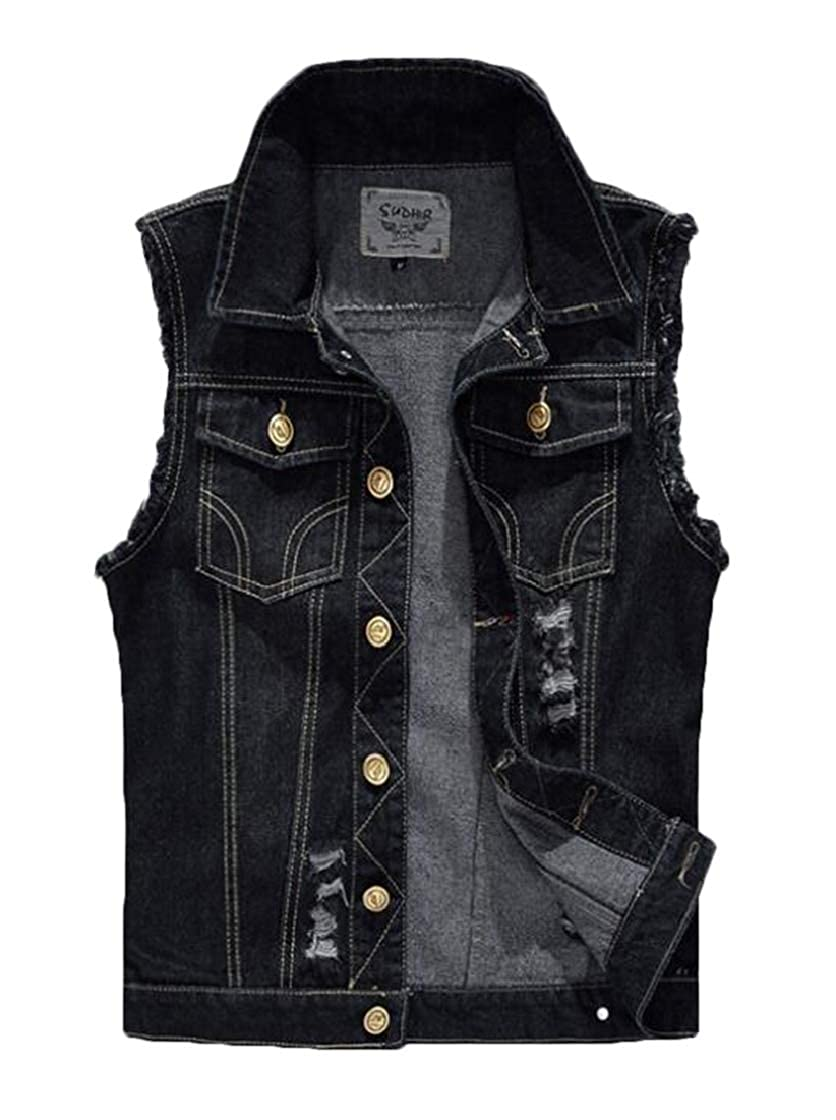 YYear Mens Sleeveless Ripped Holes Button Up Sleeveless Denim Vest Waistcoat Jacket
