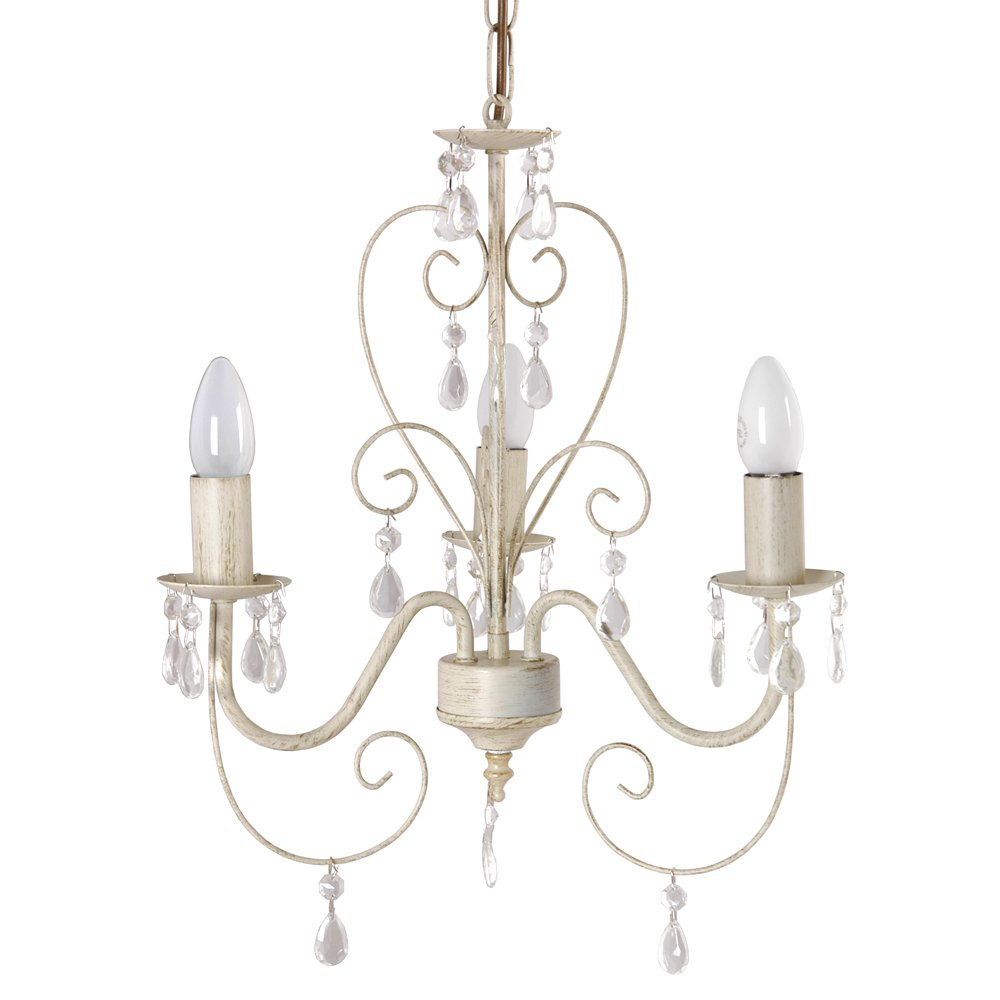 Ceiling chandelier light ornate vintage style acrylic jewels shabby chic cream ebay - Can light chandelier ...