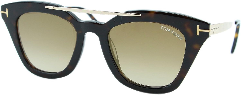 TOM FORD ANNA-02 Women Cat Eye Sunglasses BLACK GOLD GREY GRADIENT 0575 01B