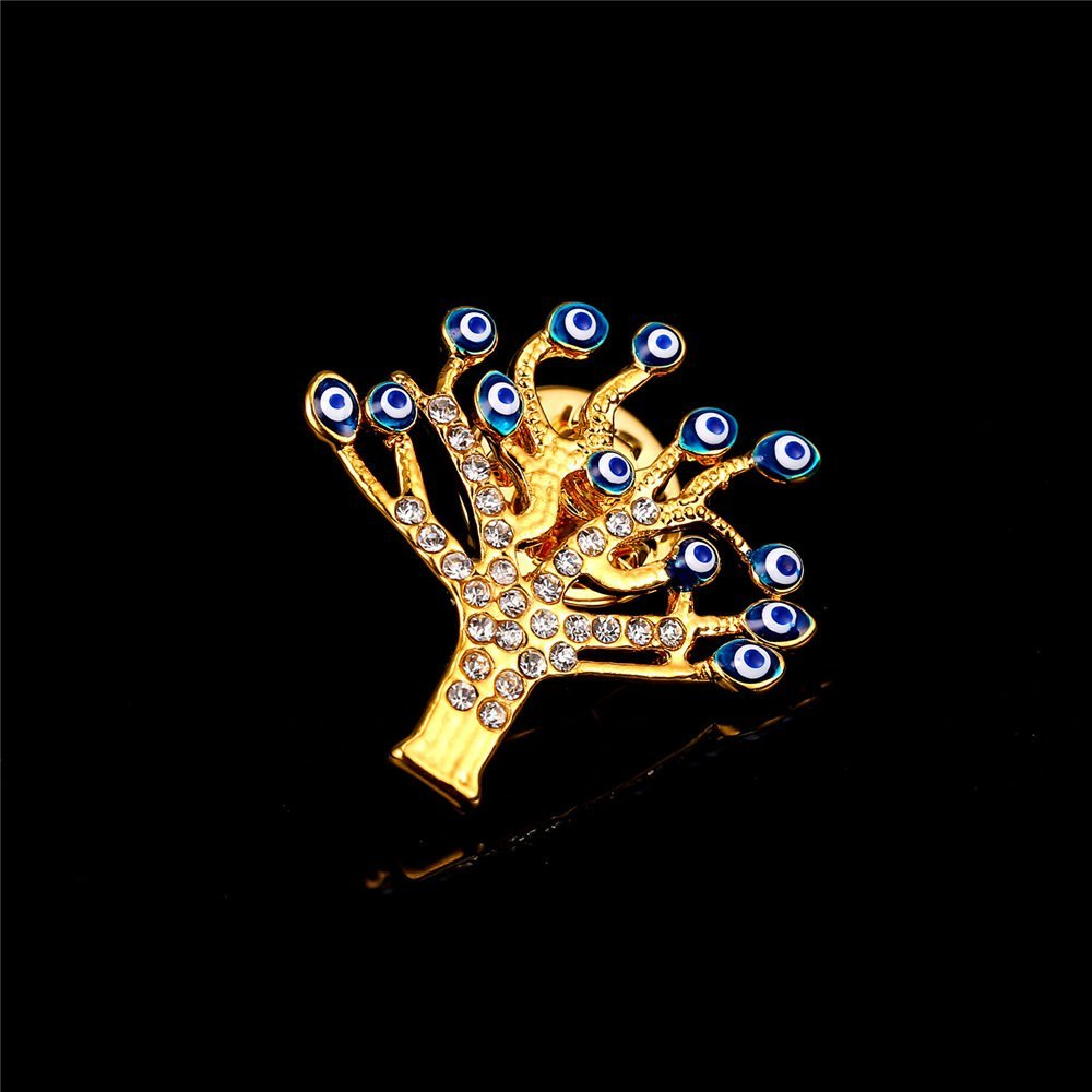 U7 Lucky Evil Eye Tree of Life Brooch 18K Gold Plated Tie Hat Bag Brooches Lapel Pin Women Men by U7 (Image #6)