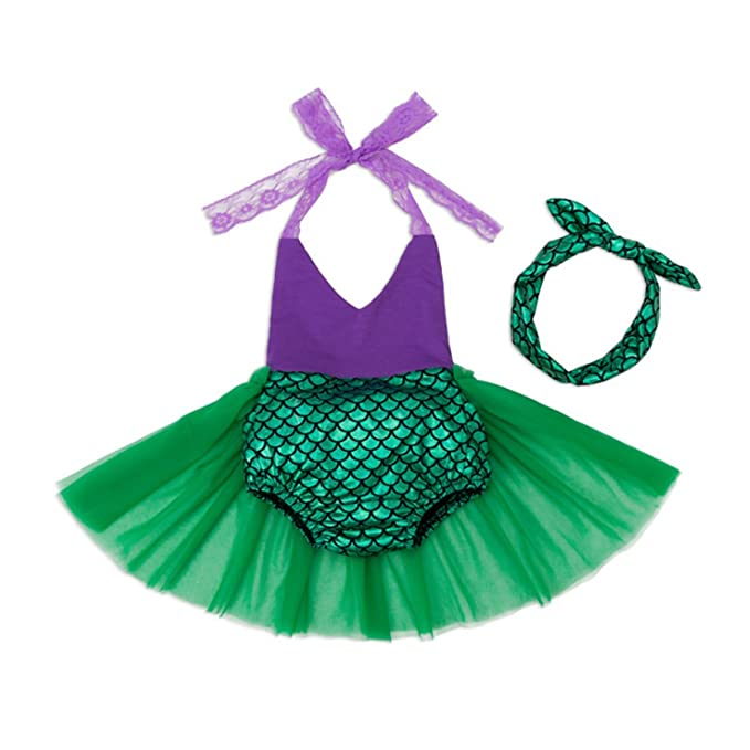 60155b22d395 WINZIK Baby Girl Mermaid Romper Summer Outfits Set 2pcs Lace Halter Ruffle Tutu  Skirt Jumpsuit Swimsuit