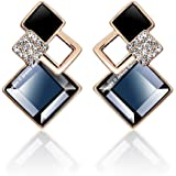 Jewels Galaxy Exclusive Luxuria Sparkling Cubic Zirconia 18K Rose Gold Plated Stud Earrings