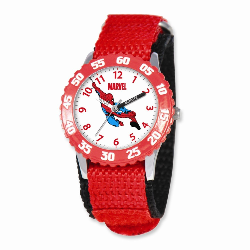 Marvel Spiderman Kids Red Velcro Band Time Teacher Watch
