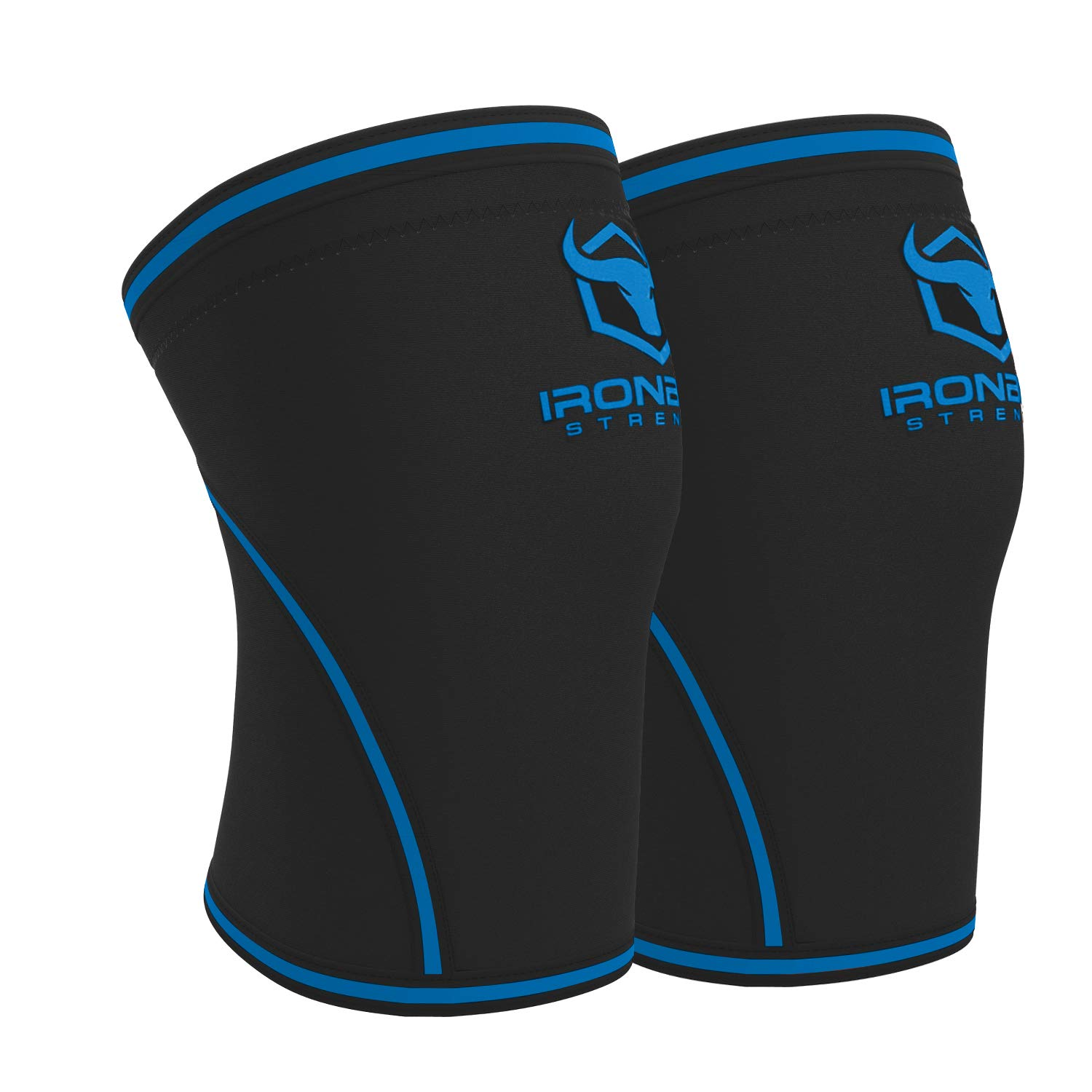 Knee Sleeves 7mm (1 Pair) - High Performance Knee Sleeve Support For Weight Lifting, Cross Training & Powerlifting - Best Knee Wraps & Straps Compression - For Men and Women (Black/Blue, Small)