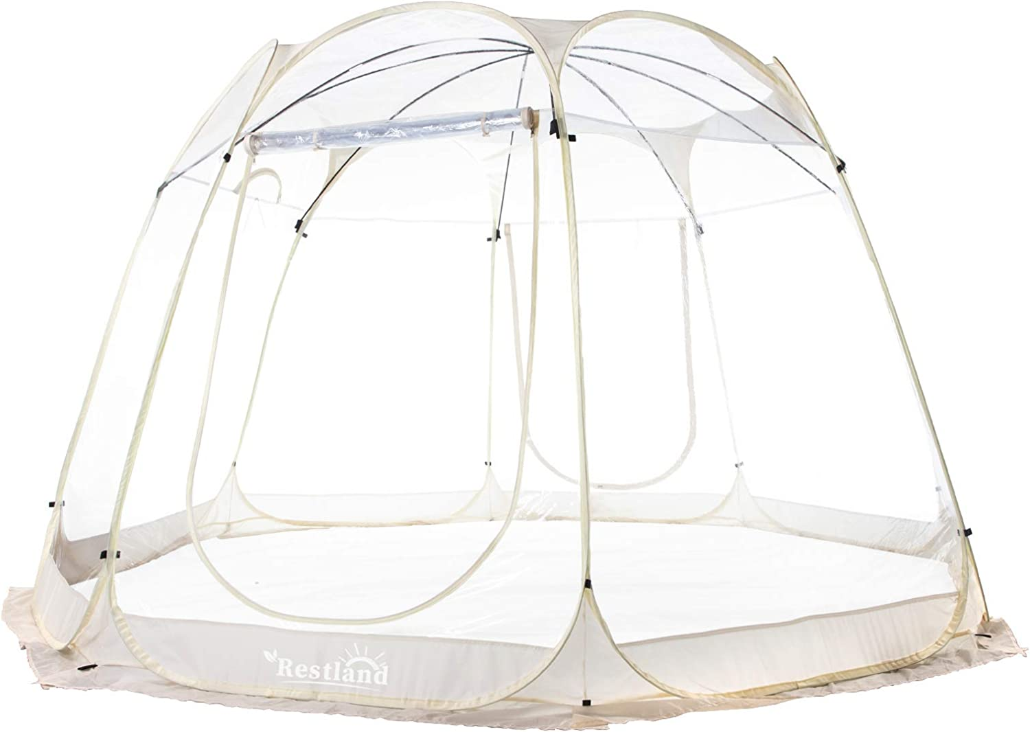 Bubble Tent 12x12, Outdoor Canopy Tent Clear Garden Igloo Tent Gazebos Transparent Bubble Tent Dome Tent Screen House 8-10 Person for Patios, Beige