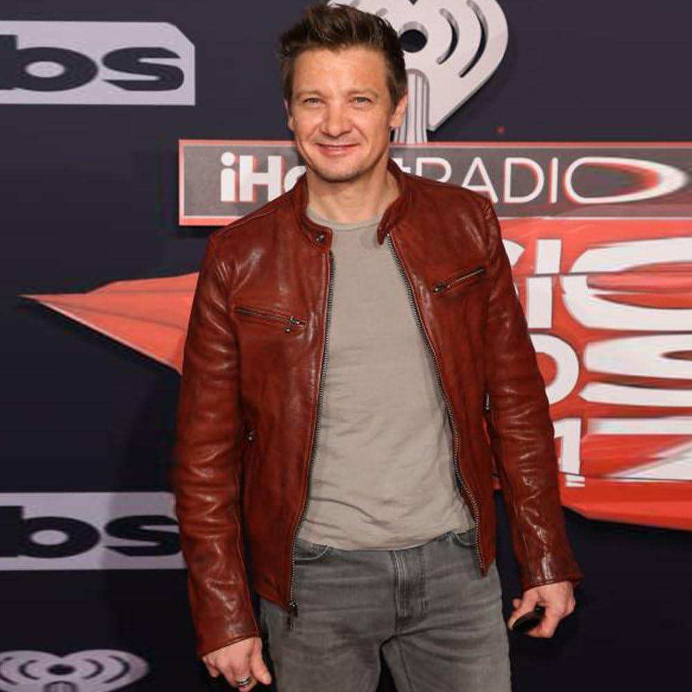 Jeremy Renner Red Carpet Music Award 2017 Leather Jacket